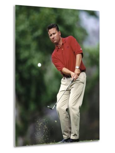 Male Golfer in Action-Chris Trotman-Metal Print