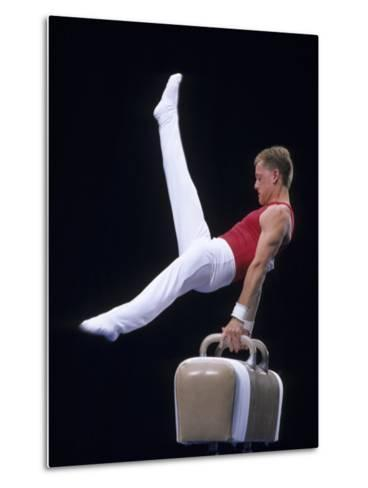 Male Gymnast Performing on the Pomell Horse--Metal Print