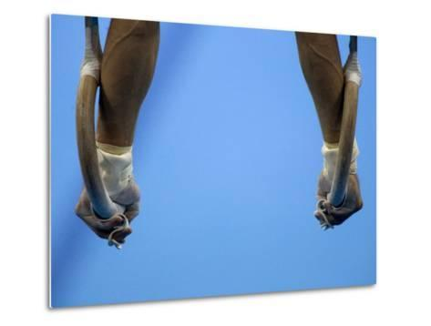 Male Gymnast Competing on Rings in Men's Qualification, 2004 Olympic Summer Games, Athens, Greece, -Steven Sutton-Metal Print