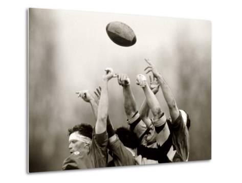 Rugby Player in Action, Paris, France--Metal Print