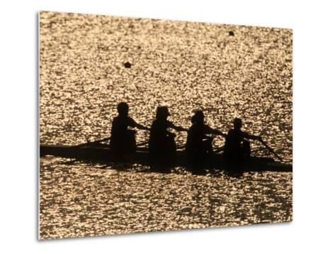 Silhouette of Women's Fours Rowing Team, Atlanta, Georgia, USA--Metal Print