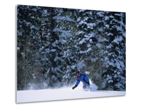 Male Snowboarder in Action--Metal Print