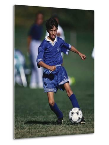 11 Year Old Boys Soccer Action--Metal Print