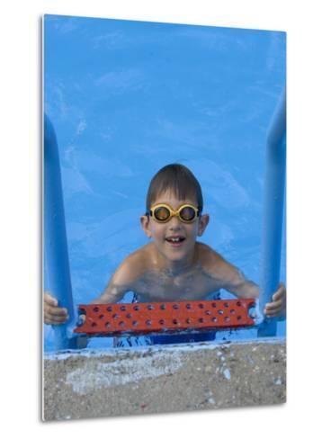 Portrait of 9 Year Old Boy in Swimming Pool, Kiamesha Lake, New York, USA-Paul Sutton-Metal Print