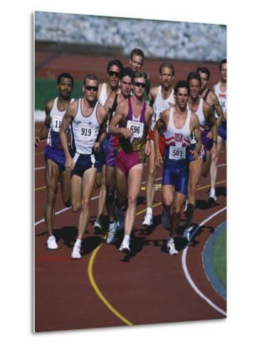 Male Runners Competing in a Track Race--Metal Print