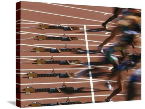 Detail of Start of Womens 100M Race-Steven Sutton-Stretched Canvas Print