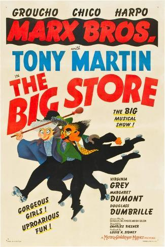 The Big Store, the Marx Brothers-From Left: Harpo Marx, Chico Marx, Groucho Marx, 1941--Stretched Canvas Print