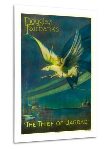 The Thief of Bagdad, Douglas Fairbanks on a Flying Horse, 1924--Metal Print