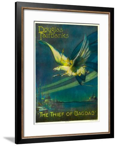 The Thief of Bagdad, Douglas Fairbanks on a Flying Horse, 1924--Framed Art Print