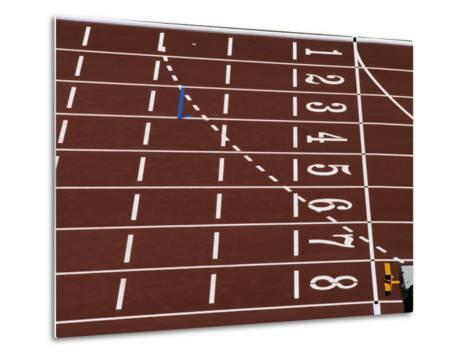 Track Lane Numbers at the Finish Line-Paul Sutton-Metal Print
