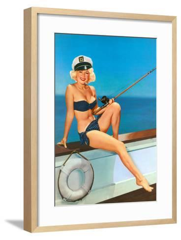 Woman Fishing in Bikini and Captain's Hat--Framed Art Print