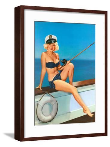 Woman Fishing in Bikini and Captain's Hat--Framed Art Print