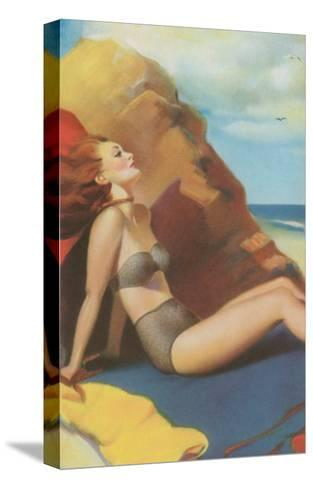 Redhead on Beach in Two-Piece--Stretched Canvas Print