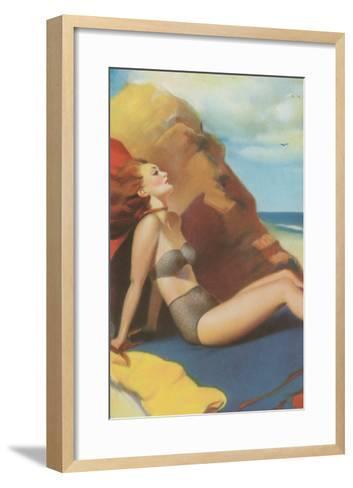 Redhead on Beach in Two-Piece--Framed Art Print