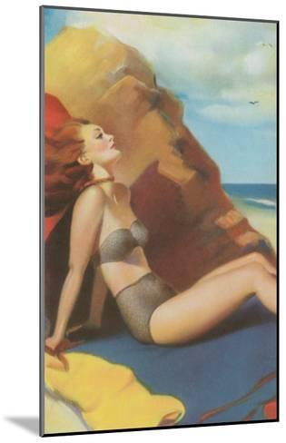 Redhead on Beach in Two-Piece--Mounted Art Print