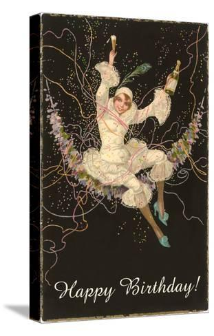 Happy Birthday, Lady Harlequin with Champagne--Stretched Canvas Print