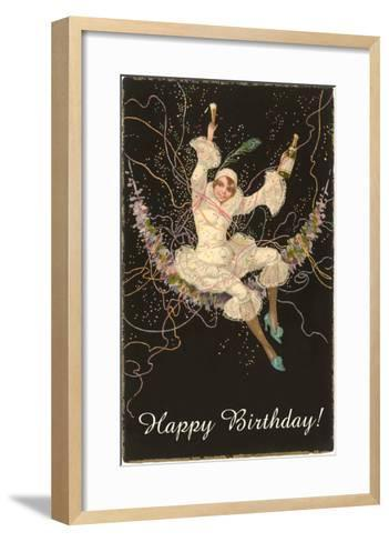 Happy Birthday, Lady Harlequin with Champagne--Framed Art Print