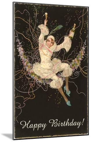 Happy Birthday, Lady Harlequin with Champagne--Mounted Art Print
