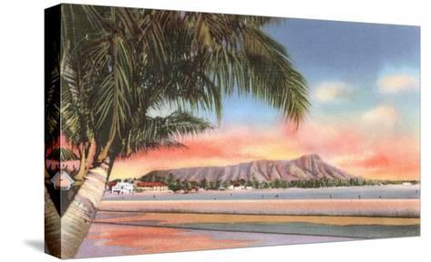 Sunset on Diamond Head, Honolulu, Hawaii--Stretched Canvas Print
