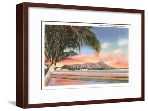 Sunset on Diamond Head, Honolulu, Hawaii--Framed Art Print