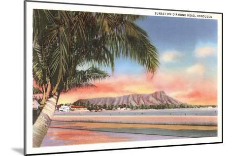 Sunset on Diamond Head, Honolulu, Hawaii--Mounted Art Print