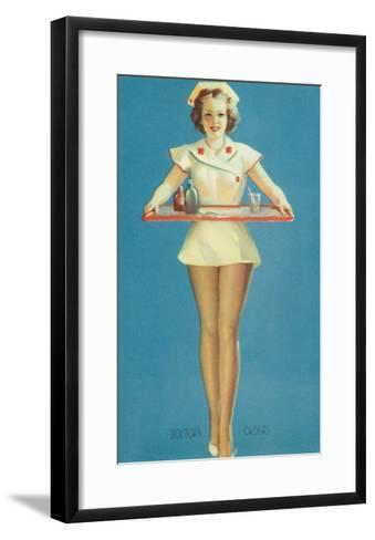 Doctor's Orders, Nurse with Tray--Framed Art Print