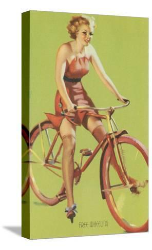 Free-Wheeling, Blonde on Bike--Stretched Canvas Print