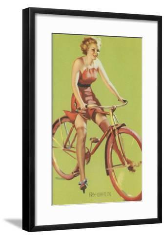 Free-Wheeling, Blonde on Bike--Framed Art Print