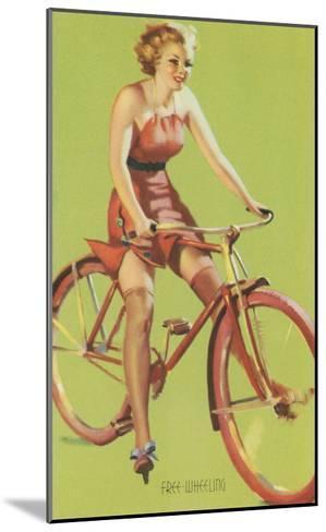 Free-Wheeling, Blonde on Bike--Mounted Art Print