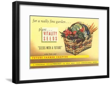 Vitality Seeds Advertisement, Vegetable Basket--Framed Art Print