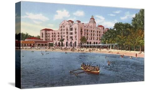 Royal Hawaiian Hotel, Waikiki, Hawaii--Stretched Canvas Print