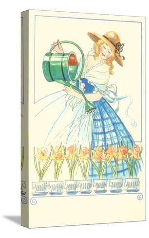 Costumed Lady Watering Daffodils--Stretched Canvas Print