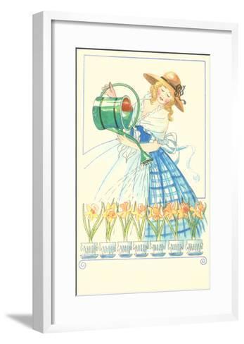 Costumed Lady Watering Daffodils--Framed Art Print