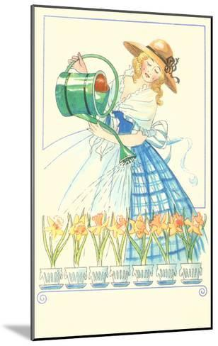 Costumed Lady Watering Daffodils--Mounted Art Print