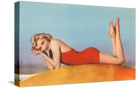 Blonde in Red Bathing Suit--Stretched Canvas Print