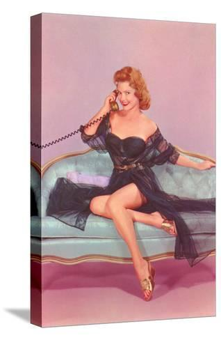 Woman in Black Lingerie on Telephone--Stretched Canvas Print
