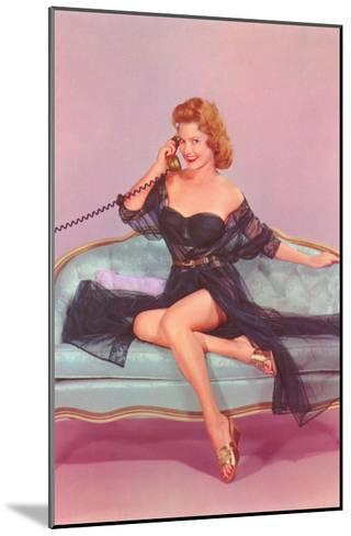 Woman in Black Lingerie on Telephone--Mounted Art Print