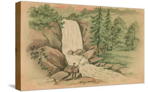 Real Sport, Fishing by Waterfall--Stretched Canvas Print