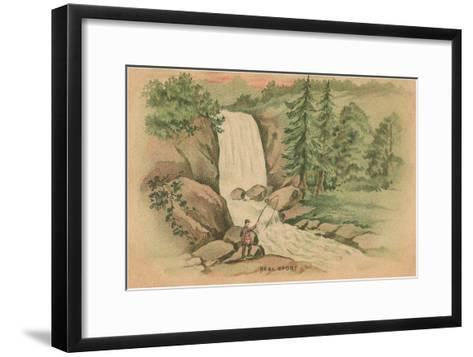 Real Sport, Fishing by Waterfall--Framed Art Print