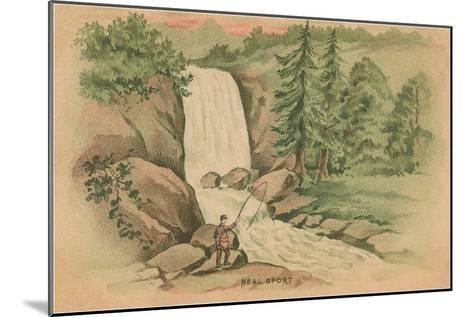Real Sport, Fishing by Waterfall--Mounted Art Print