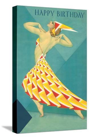 Happy Birthday, Art Deco Dancer--Stretched Canvas Print