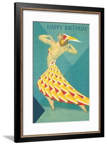 Happy Birthday, Art Deco Dancer--Framed Art Print