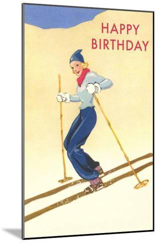 Happy Birthday, Lady Skiing--Mounted Art Print