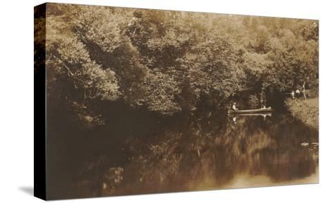 Canoe in Shady Creek--Stretched Canvas Print