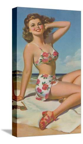 Pin-Up in Flowered Two-Piece--Stretched Canvas Print