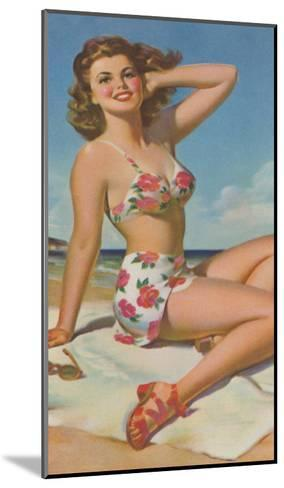 Pin-Up in Flowered Two-Piece--Mounted Art Print