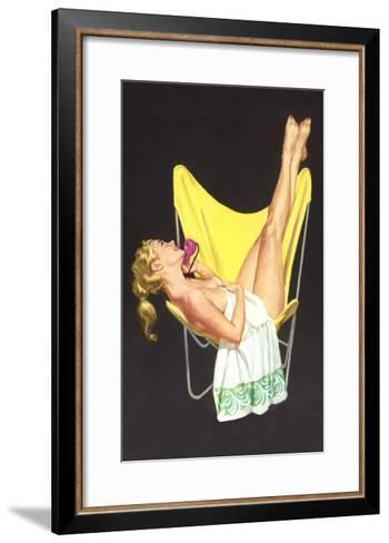 Lady on Telephone with Legs Up on Chair Back--Framed Art Print