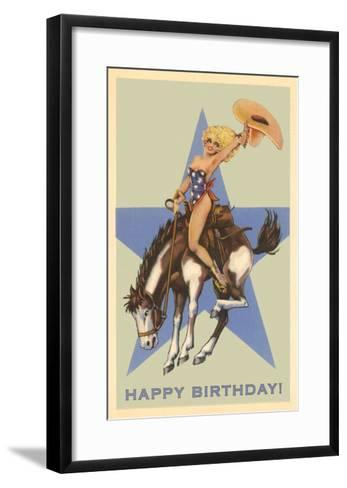 Happy Birthday, Cowgirl on Bronco--Framed Art Print