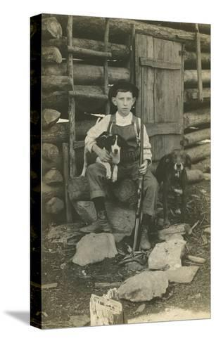 Boy with Rifle and Two Dogs--Stretched Canvas Print