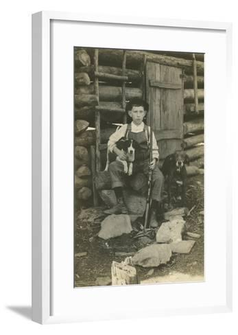 Boy with Rifle and Two Dogs--Framed Art Print